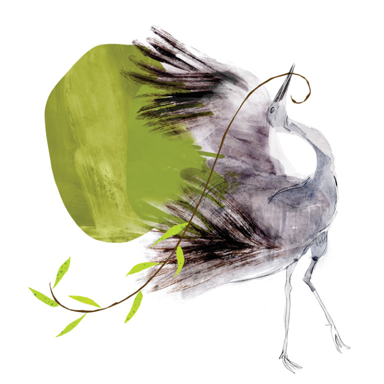 Dancing Crane illustration for Spirituality and Health magazine