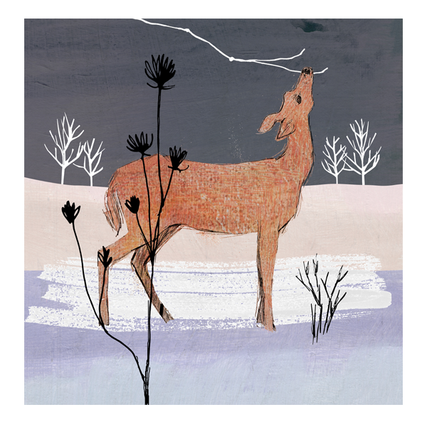 WInter Woodland Deer