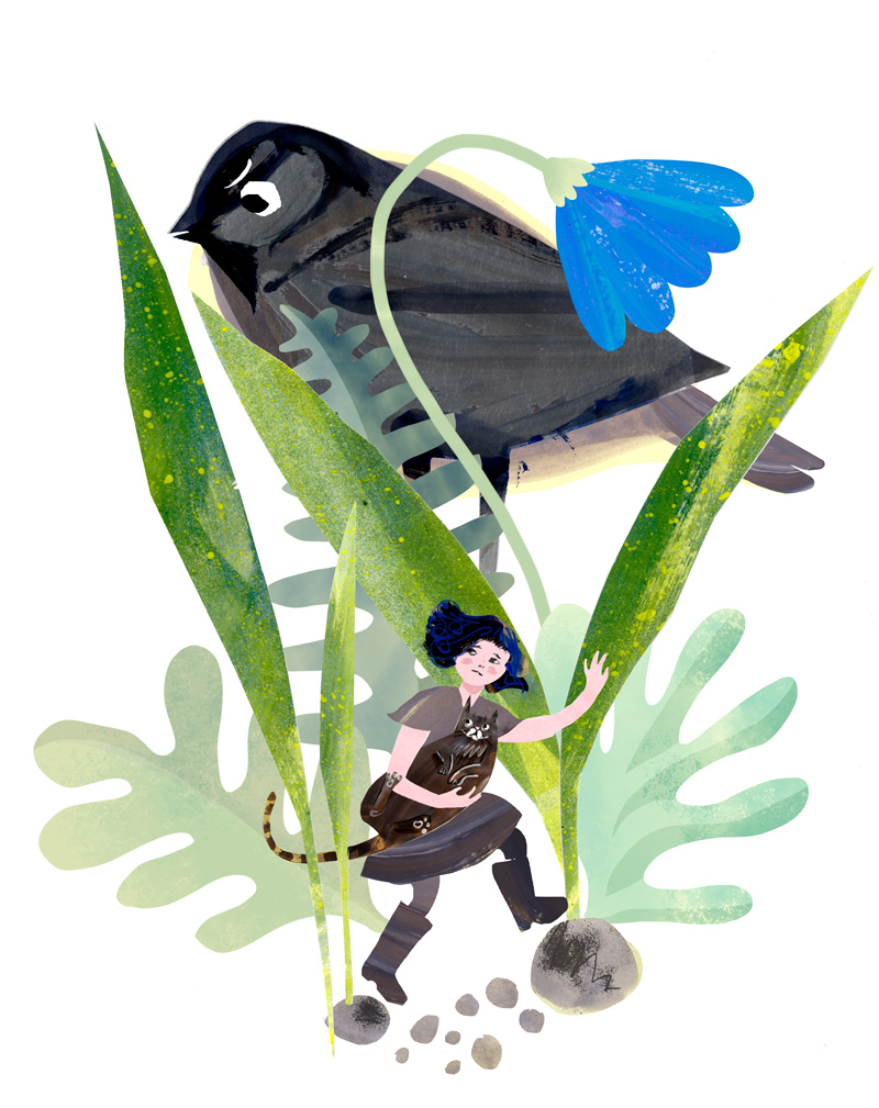 "Illustration of character ""Minette"" and the giant chickadee"