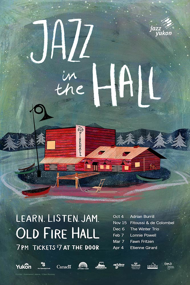 Jazz in the Hall poster artwork. Design by Guin Lalena